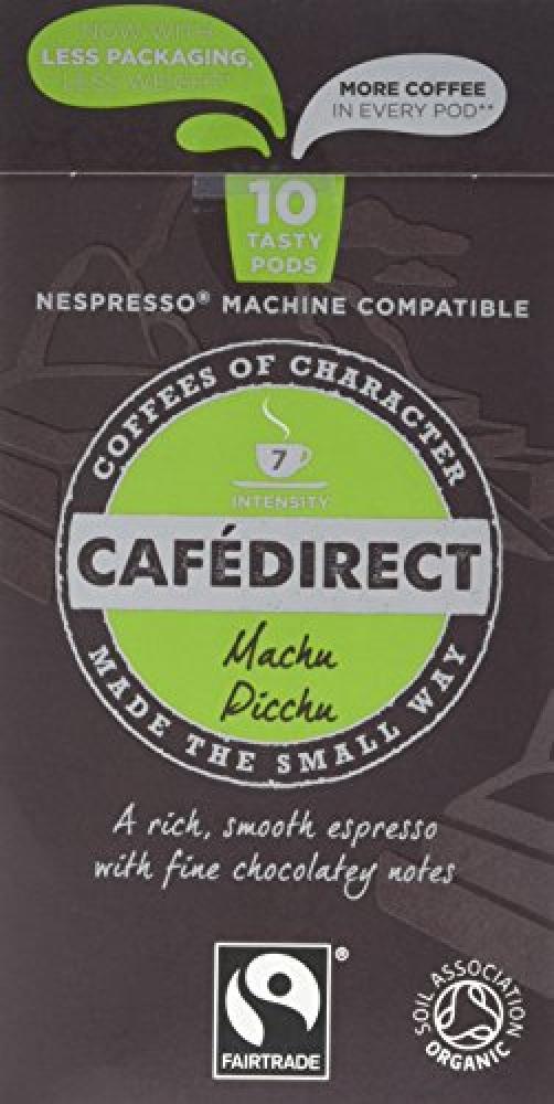 Cafedirect Organic Fairtrade Nespresso Compatible Coffee Capsules Machu Picchu 53g
