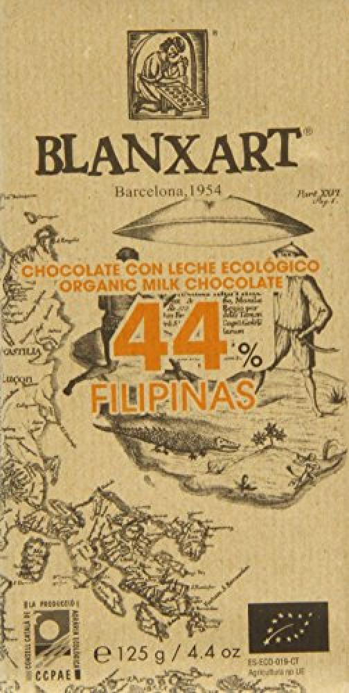 Blanxart Organic Fillipinas 44 Percent Milk Chocolate Bar 125 g