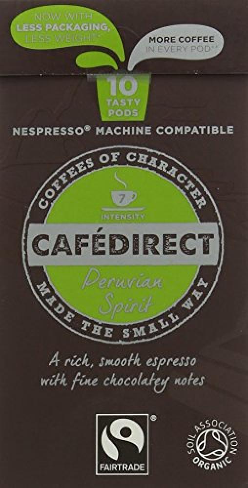 Cafe Direct Organic Fairtrade Nespresso Compatible Coffee Capsules 10 Pods