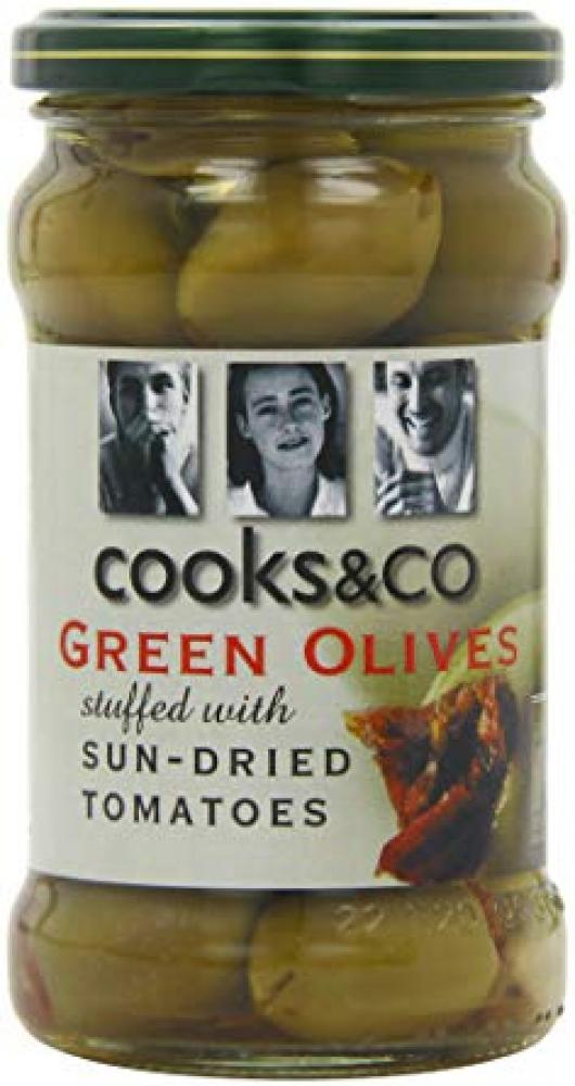 Cooks and Co Green Olives with Sundried Tomatoes 290 g