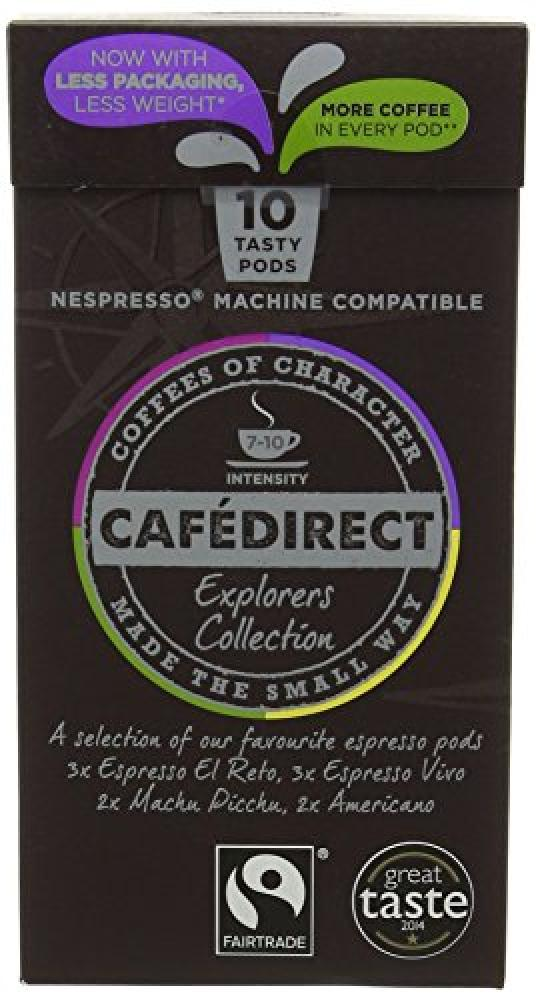 Cafe Direct Fairtrade Nespresso Compatible Coffee Capsules Mixed Variety Explorers Collection 53 g