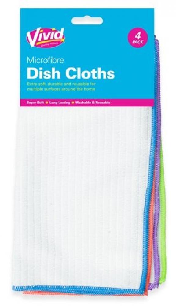 Vivid Microfibre Dish Cloths 4 pack