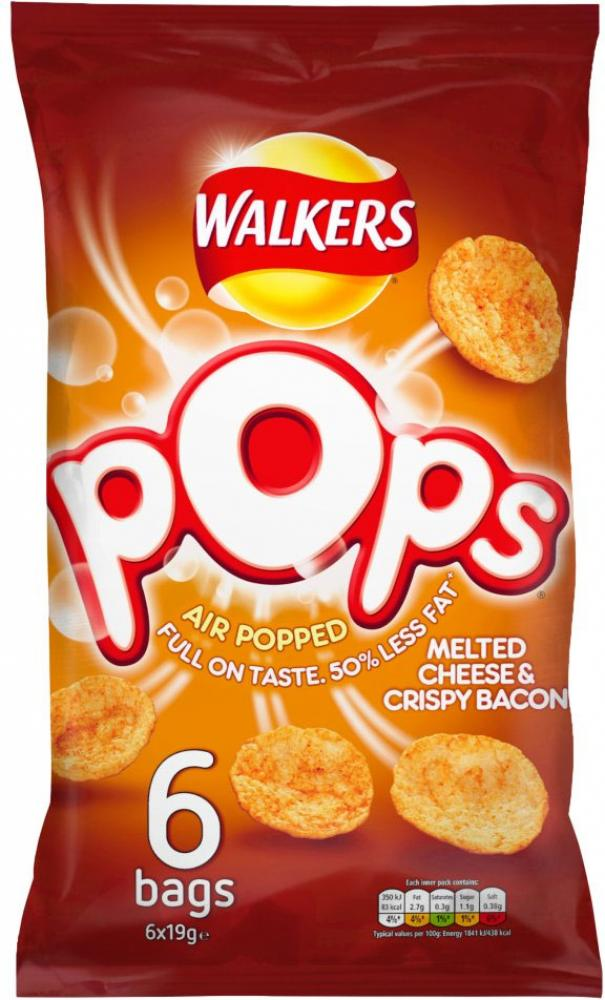 Walkers Pops Melted Cheese and Crispy Bacon 19g x 6