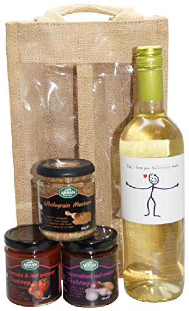 Ukgiftbox Dad I love you this much White Wine and Chutney Gift Set