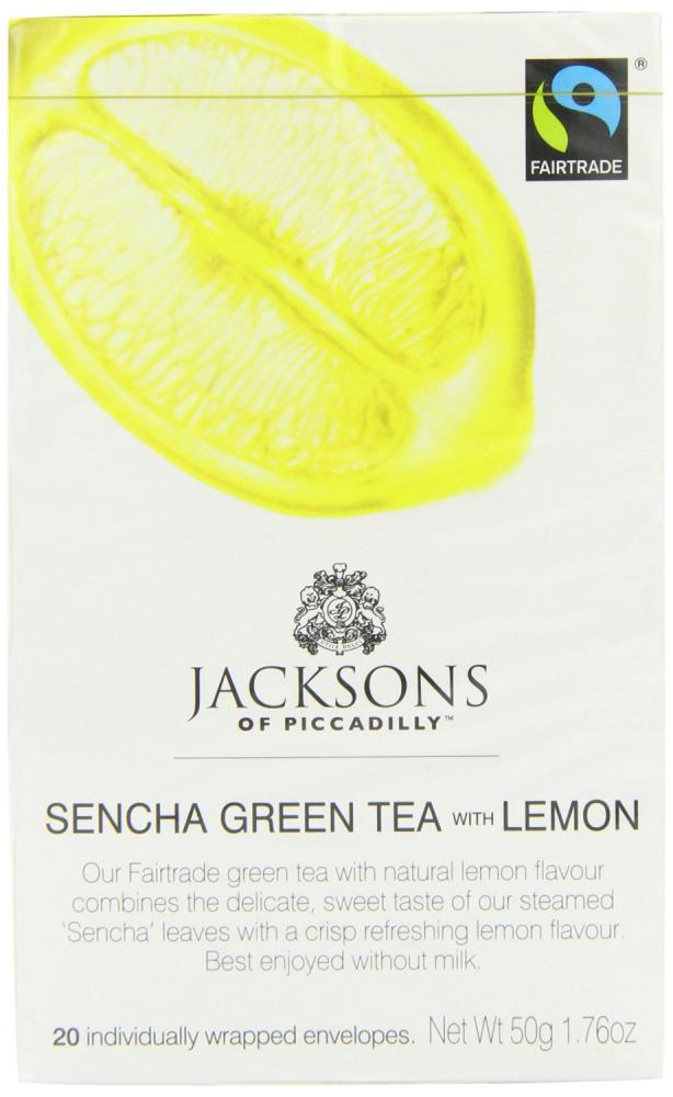 Jacksons Of Piccadilly Fairtrade Sencha Green with Lemon 20 Teabags 50g