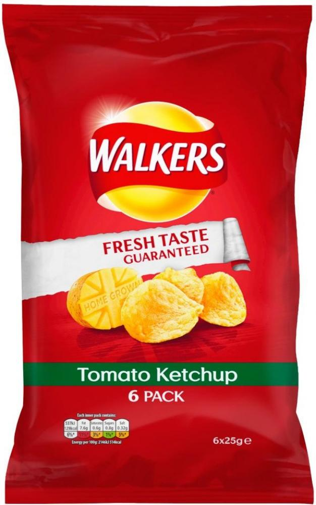 Walkers Tomato Ketchup Crisps 25g x 6