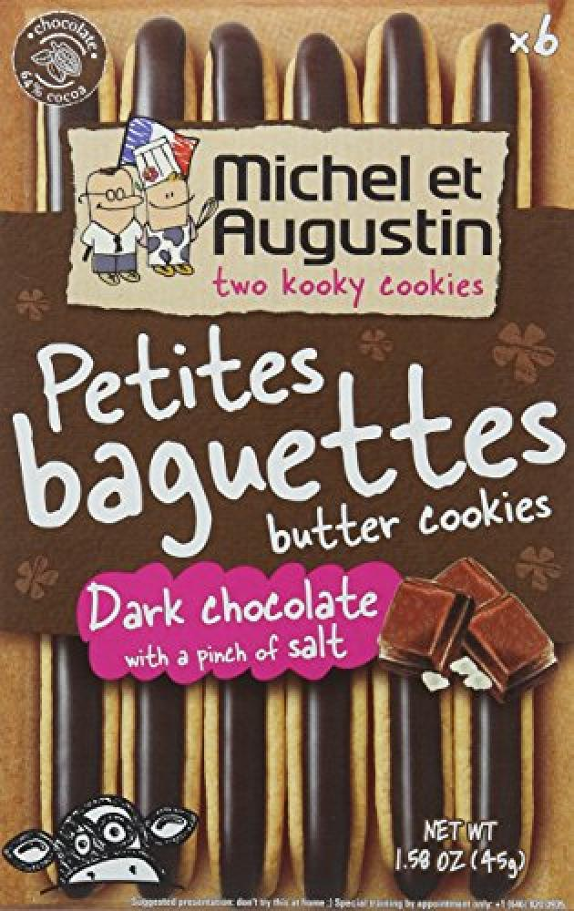 Michel Et Augustin Dark Chocolate Petites Baguettes Butter Cookies 45g