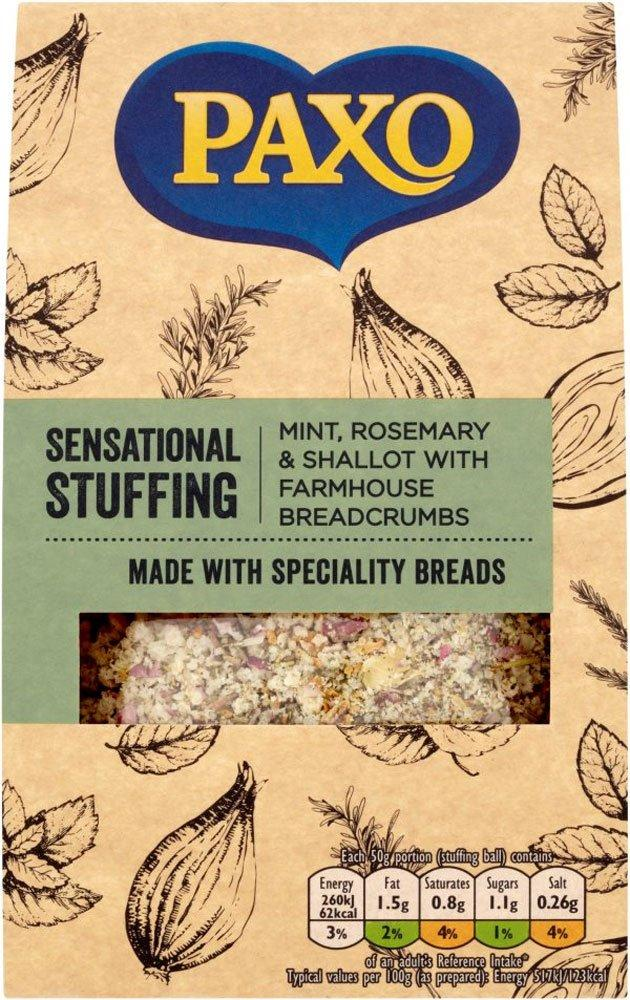 Paxo Mint Rosemary and Shallot with Farmhouse Breadcrumbs Stuffing Mix 110g