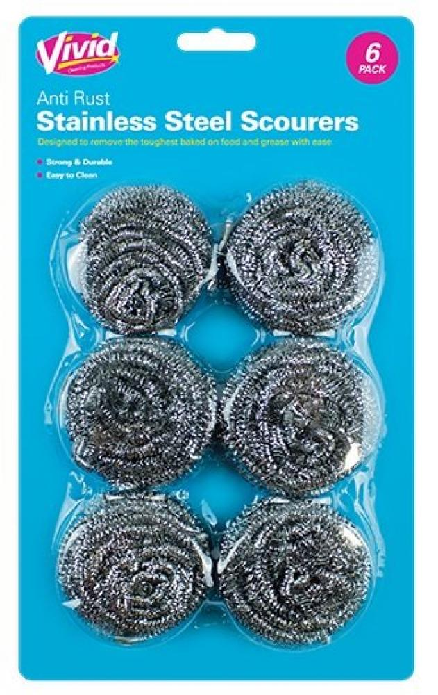Vivid Stainless Steel Scourers 6 pack