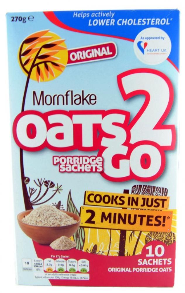 Mornflake Oats 2 Go Original 10 Porridge Sachets 270g