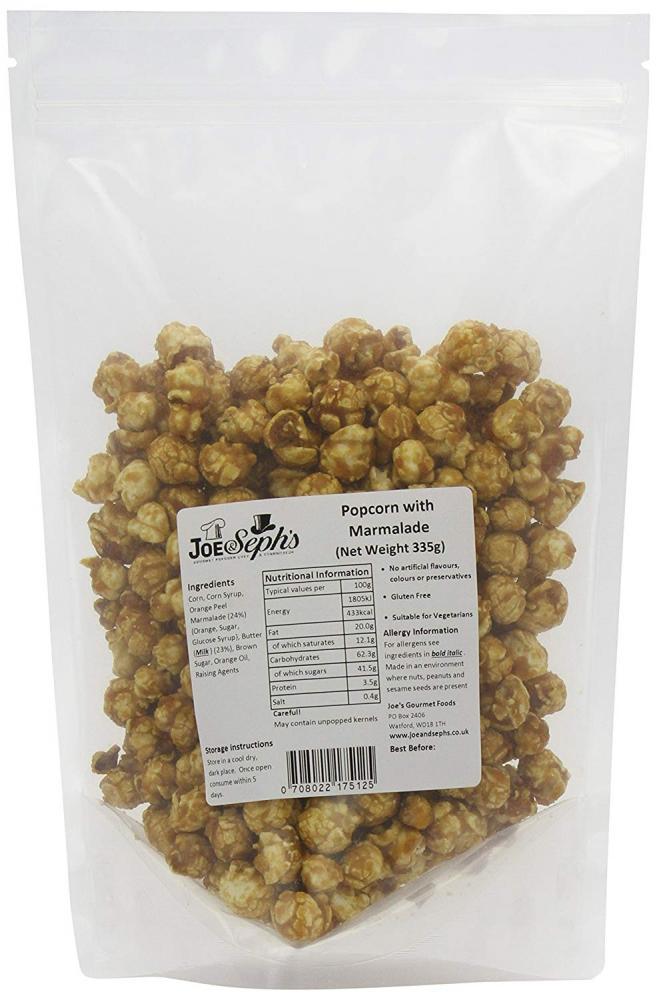 Joe and Sephs Orange Marmalade Popcorn Party Pack 335g