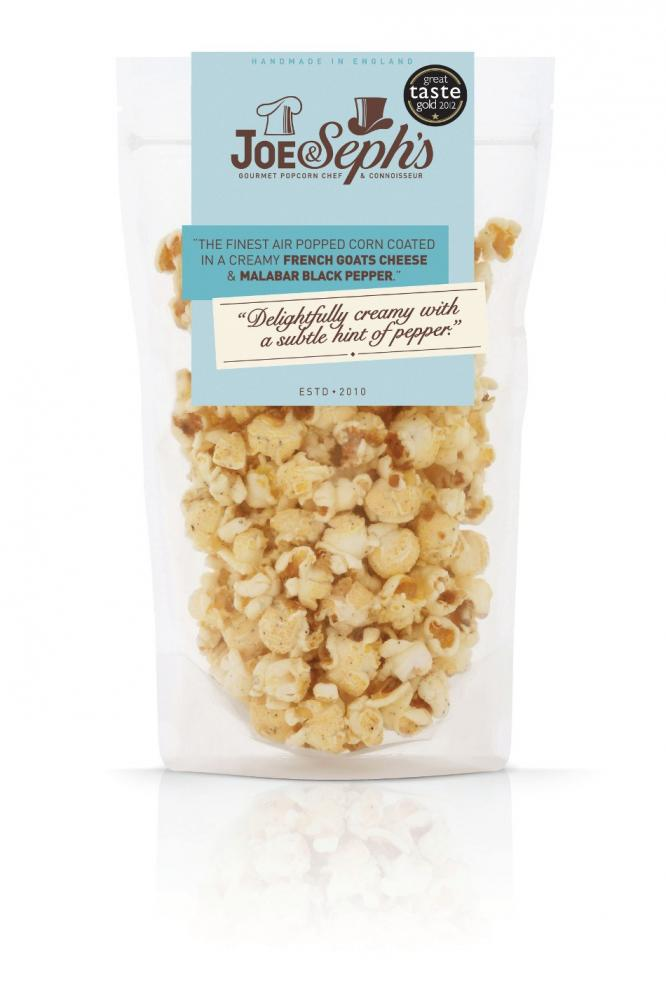 Joe and Sephs French Goats Cheese and Malabar Black Pepper Popcorn 90g