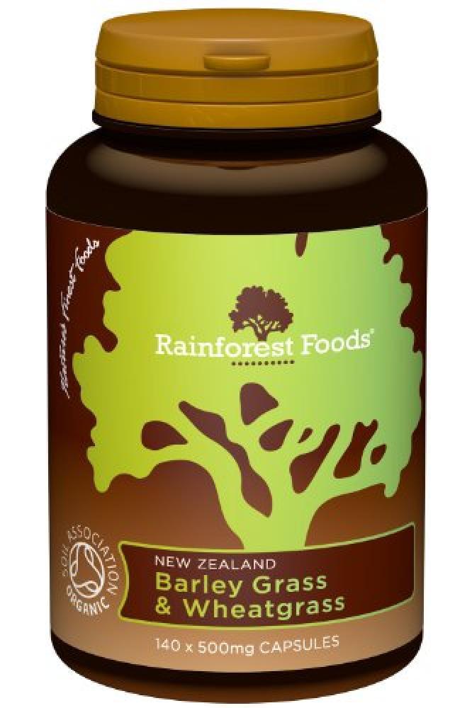 Rainforest Foods Organic New Zealand Barley Grass and Organic Wheatgrass Capsules 500mg Pack of 140