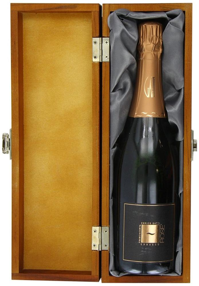 Enrico Gatti Franciacorta Brut Rose DOCG Sparkling Wine in Luxury Hinged Wooden Box Non Vintage 75 cl