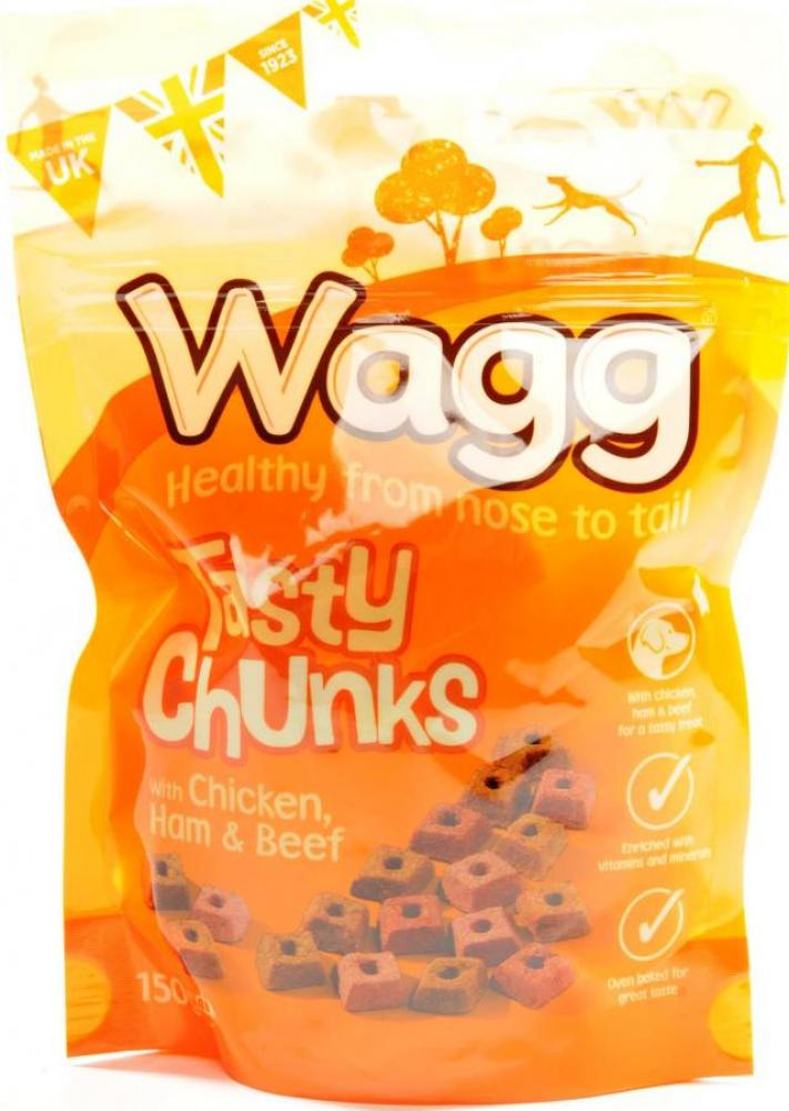 Wagg Tasty Chunks with Chicken Ham and Beef 150 g