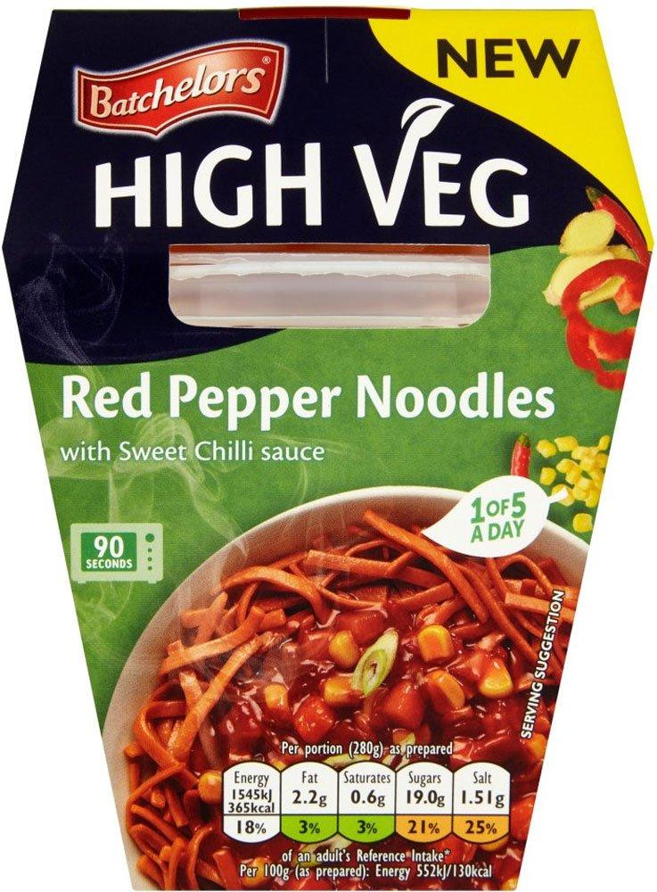 Batchelors High Veg Red Pepper Noodles with Sweet Chilli Sauce 280g