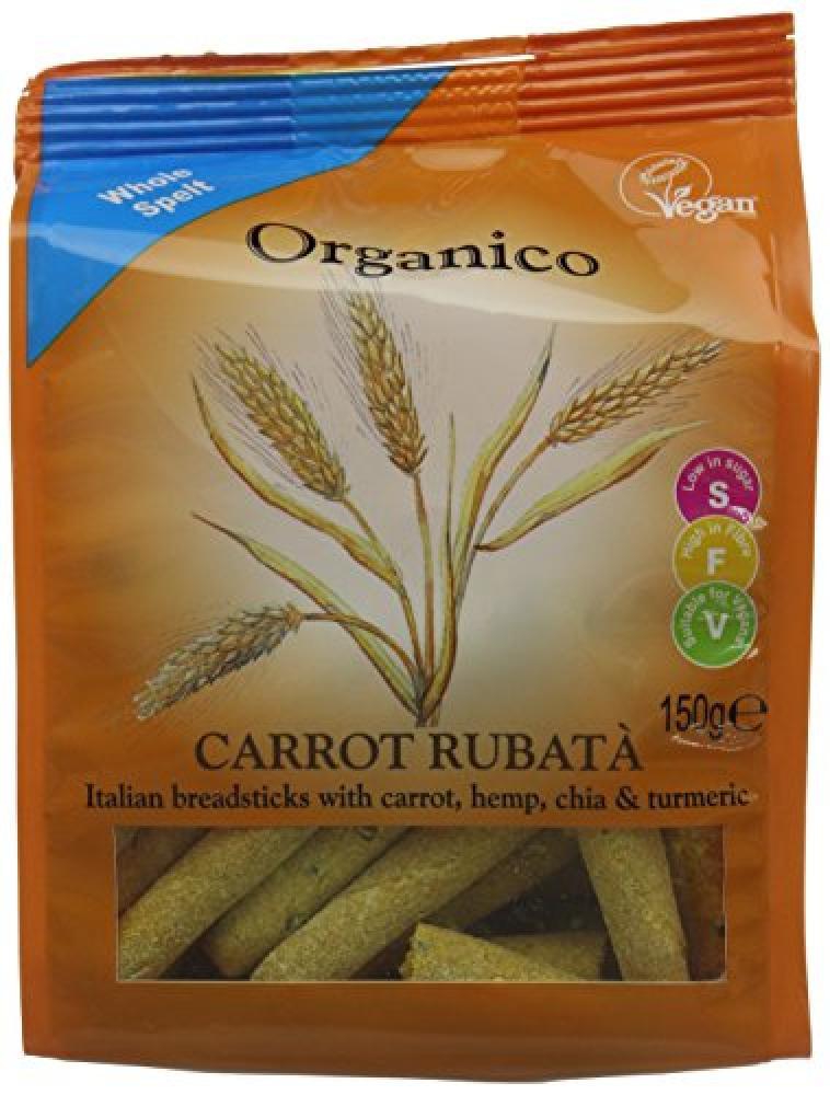 Organico Carrot Rubata Breadsticks with Carrot Hemp Chia and Turmeric 150g