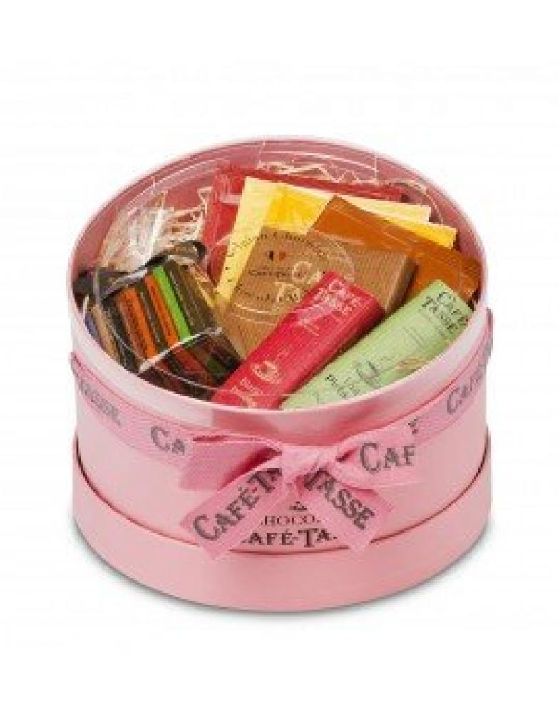 Caffe Tasse Belgian Chocolate Hamper in Round Pink Box