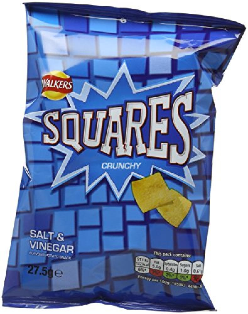 Walkers Squares Salt and Vinegar Potato Snacks 27.5 g