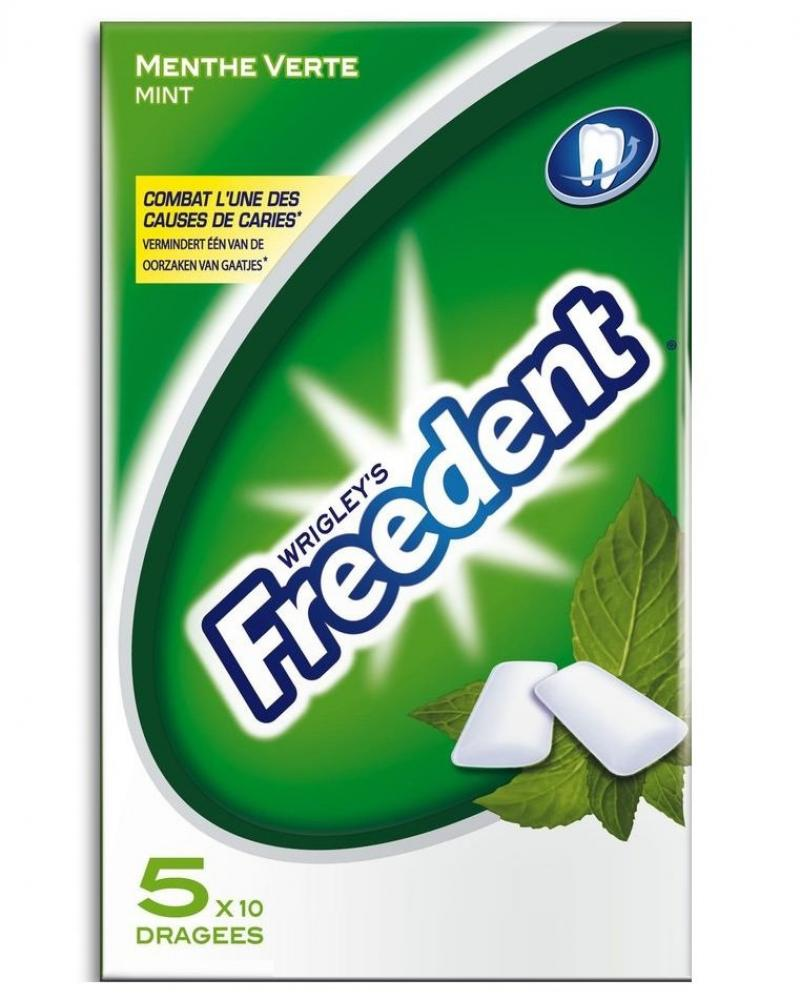 Wrigleys Freedent Mint Chewing Gum 10 pieces pack of 5