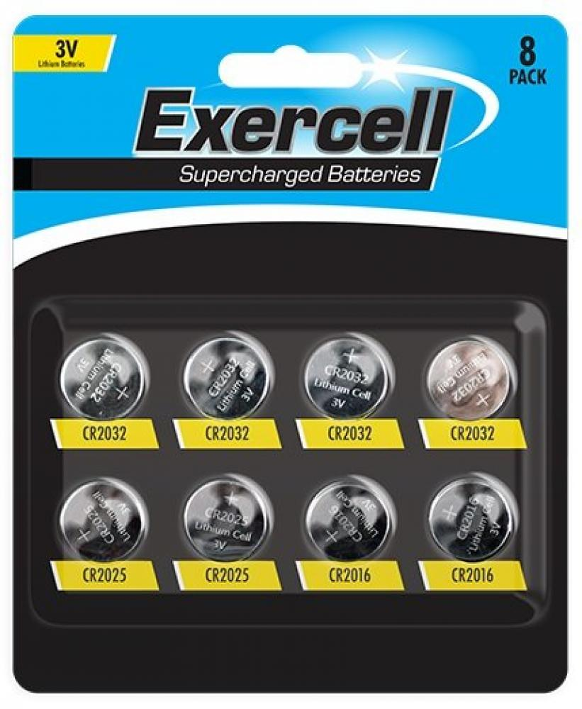 Exercell 3V Lithium Batteries 8 pack