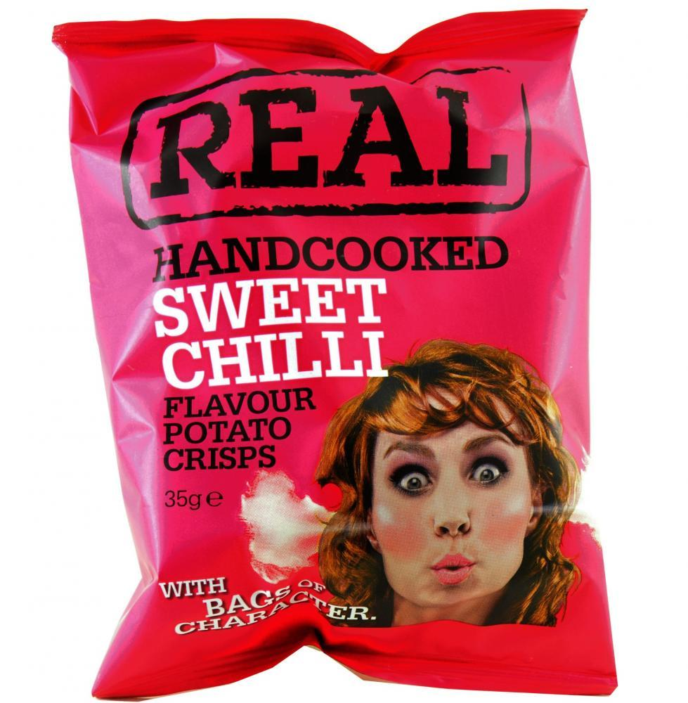 Real Handcooked Sweet Chilli Flavour Potato Crisps 35g
